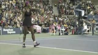 US Open 2009  Serena disqualified against Clijsters over a Foot Fault!! HIGH QUALITY PART I
