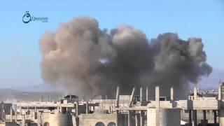 وكالة قاسيون  غارة لمقاتلة روسية على مدينة إنخل بريف درعا 7-12-2015