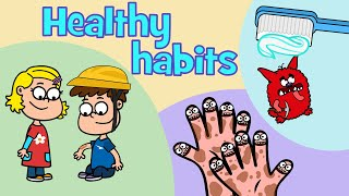 Healthy habits kids songs compilation | Hooray Kids Songs | Hacky Smacky - Wash us - Boo-boo Song
