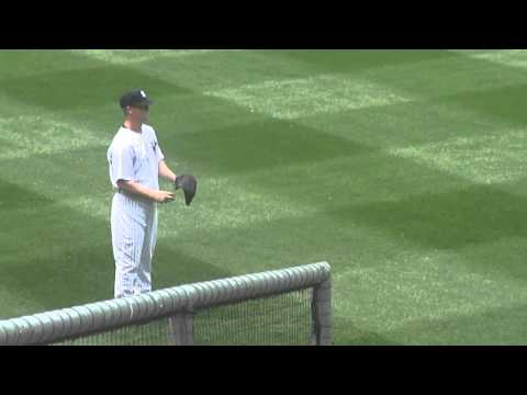 Yankees Pitcher Brian Gordon Warming up before his first MLB Start