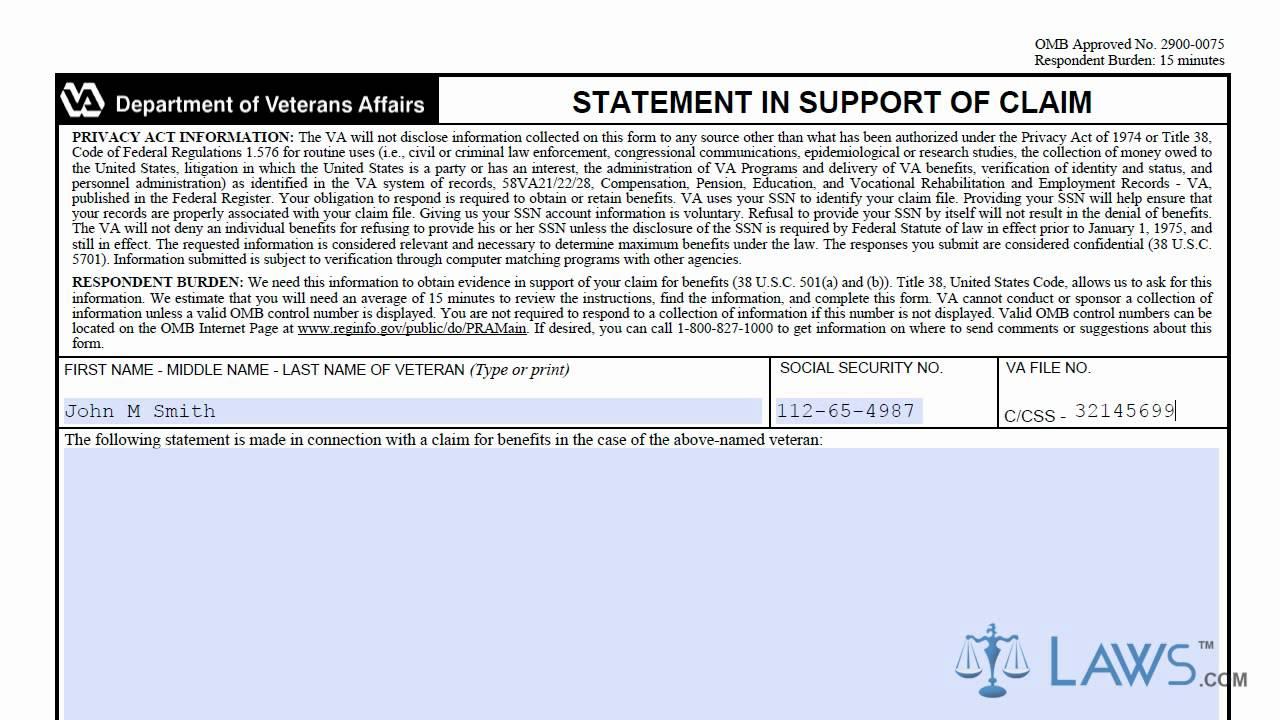 VA Form 21 4138