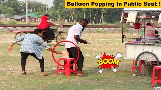 Popping Balloon In Public Seat Funny Prank! Part 4 | Try To Not Laugh!!