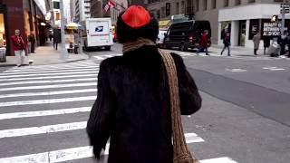 NYC = Lady in *** FUR *** Coat is SHAMED (LOL) for Animal Abuse