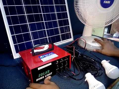Belifal Solar Home Lighting System With DC Bulbs & Table Fan English Action