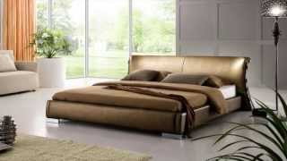 Beliani Leather Bed - Double Bed Incl. Stable Slatted Frame, Golden - Bed Paris - Eng