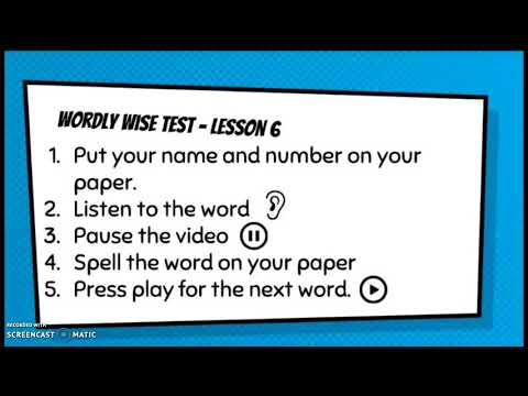 Wordly Wise Test Lesson 6 YouTube