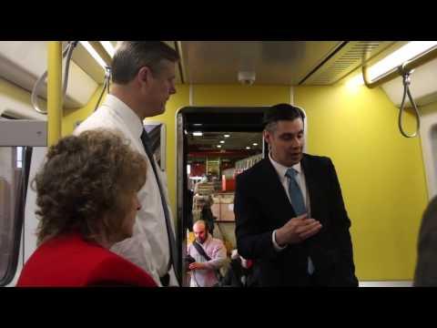 Governor Baker tours mock up of new MBTA Orange Line rail car