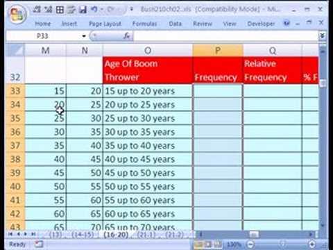 Excel Statistics 21: P2 Quantitative Freq. Dist. w Formulas