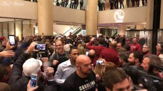 Gamecock Fans cheer for team as it leaves hotel