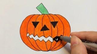 How to Draw a Halloween Pumpkin | Vẽ Qủa Bí Ngô Ngày Halloween.