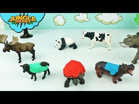 "ZOO Animal Toys Take A Bath! ""Jungle Daddy"" Wild Schleich Land Animals For Kids"