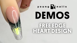 Young Nails Nail Demo - FREE EDGE HEART DESIGN - Acrylic
