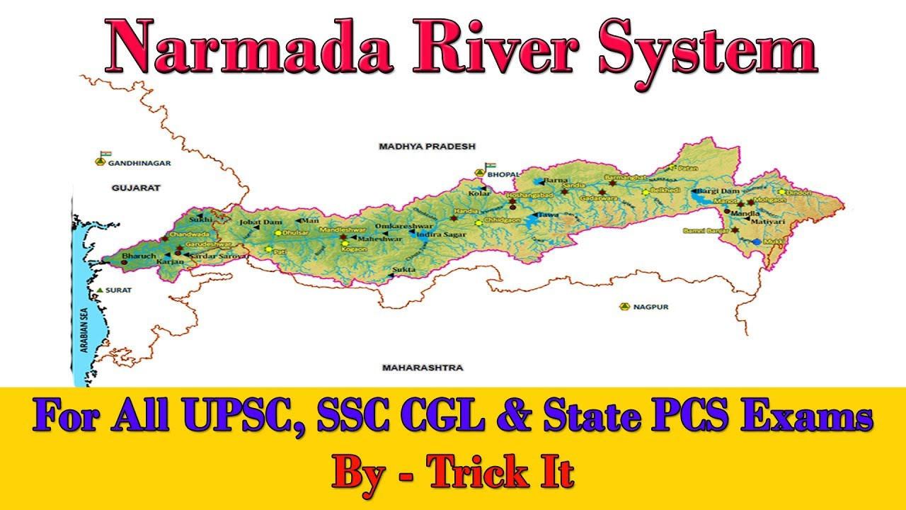 Narmada River System UPSC SSC CGL YouTube - River system map