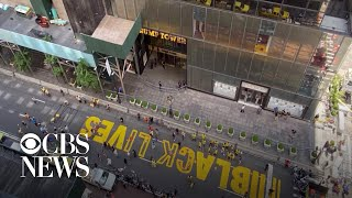 """""""black Lives Matter"""" Mural Painted In Front Of Trump Tower In New York City"""