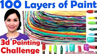 Top art challenge : 100 LAYERS OF PAINT 3d painting   Unboxing gold play button!