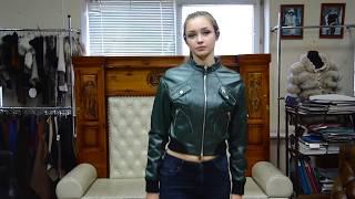 """Обзор кожаной куртки-бомбера """"Ира"""", цвет зеленый #31"""