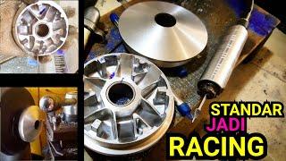 Bikin Pulley Standar Jadi Racing Cuma Dengan Tuner & Amplas. (Rumah Roller Beat) #23RACINGSHOP