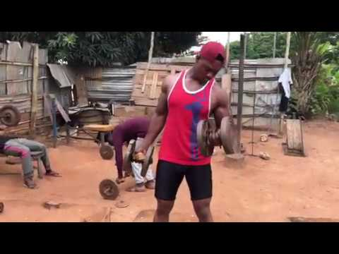 How to do arms workout with Ghana strongest Asoka GH in a local gym