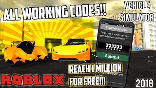 *NEW*ALL WORKING VEHICLE SIMULATOR CODES!! ALMOST REACH 300K!! (ROBLOX)