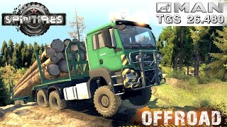 Spin Tires MAN TGS 26.480 6x6 Timber truck Off-road Test