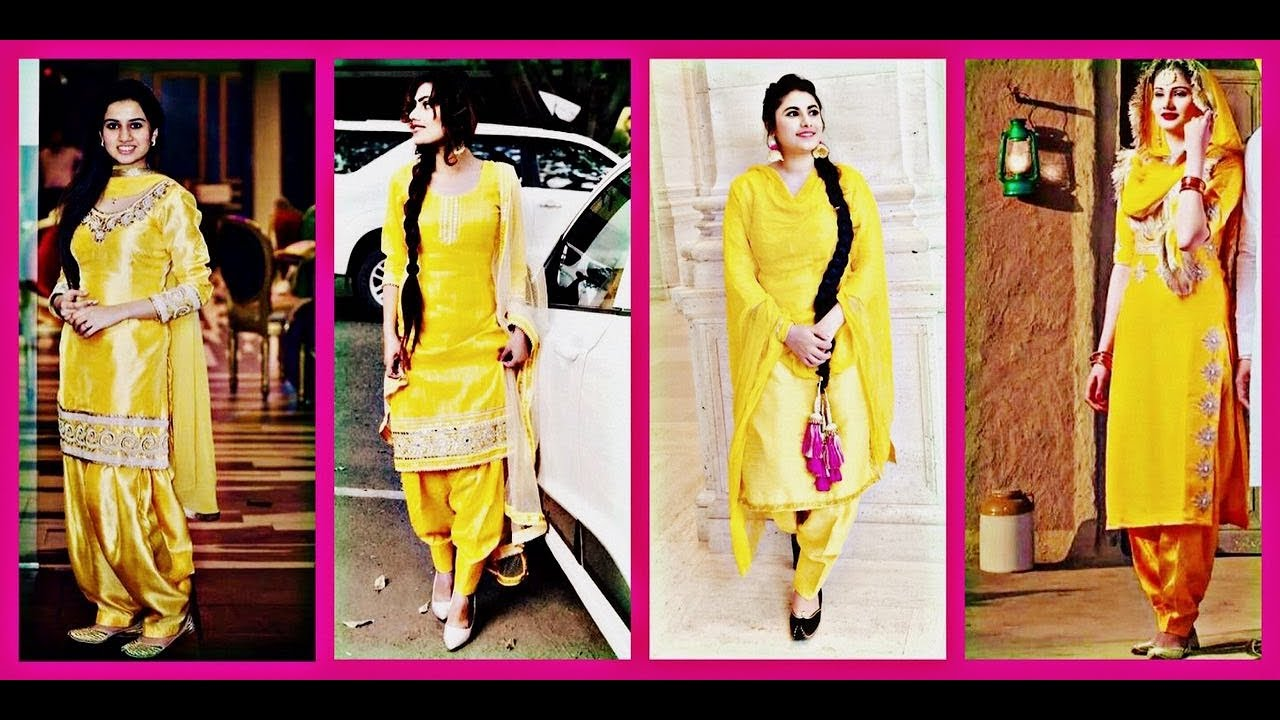 92a66f3c9d yellow patiala suit designs || punjabi yellow patiala suit designs ||  yellow punjabi salwar suit