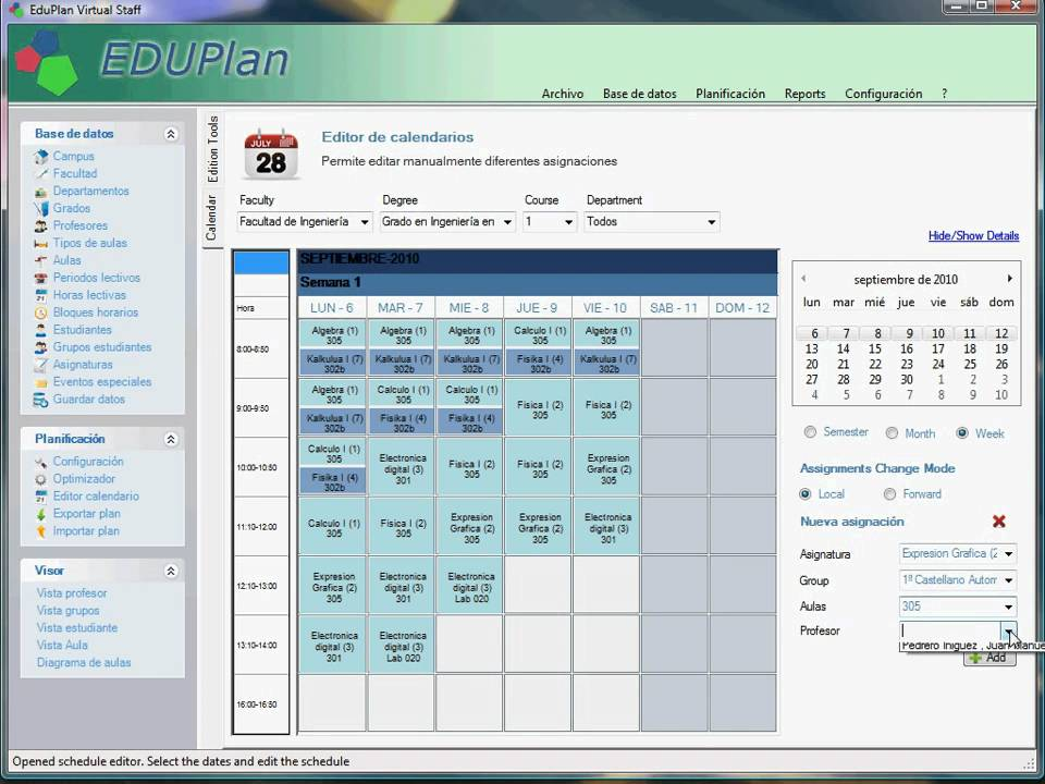 scheduling timetable