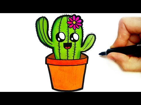 HOW TO DRAW A CUTE CACTUS EASY STEP BY STEP