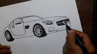 How to draw Mercedes amg GT car