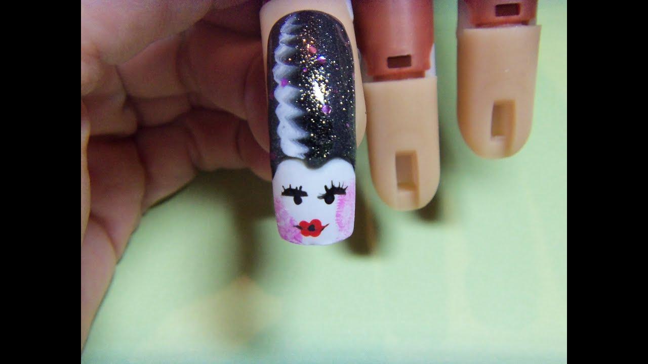 Retro Pin Up Bride Of Frankenstein Nail Art Design