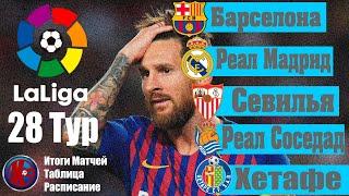 Футбол Чепмионат Испании Ла Лига 2019 2020 Итоги матчей 28 тур Расписание 29 го тура