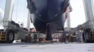 Superyacht launch at STP Travellift Palma de Mallorca, Spain