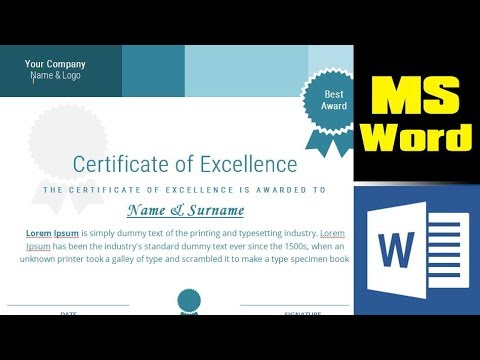 How to design a certificate from scratch in MS Word - Microsoft Word