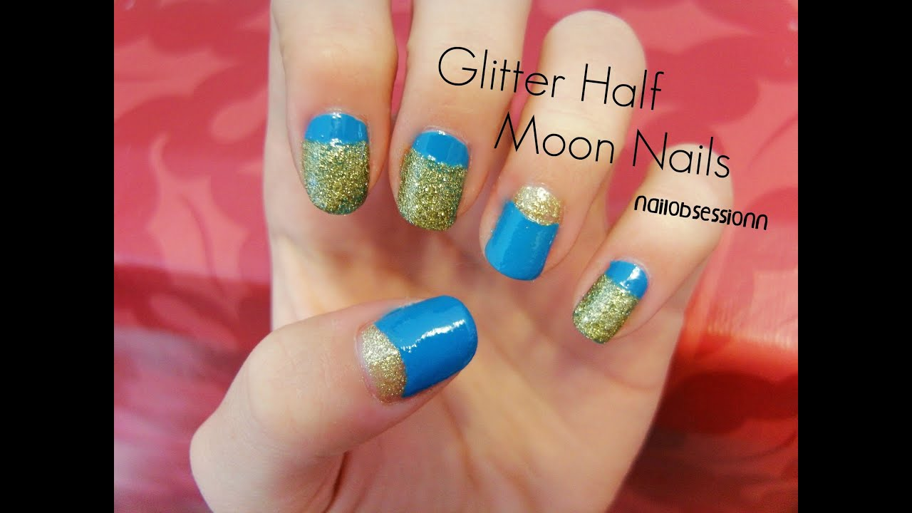 easy glitter half moon nails youtube