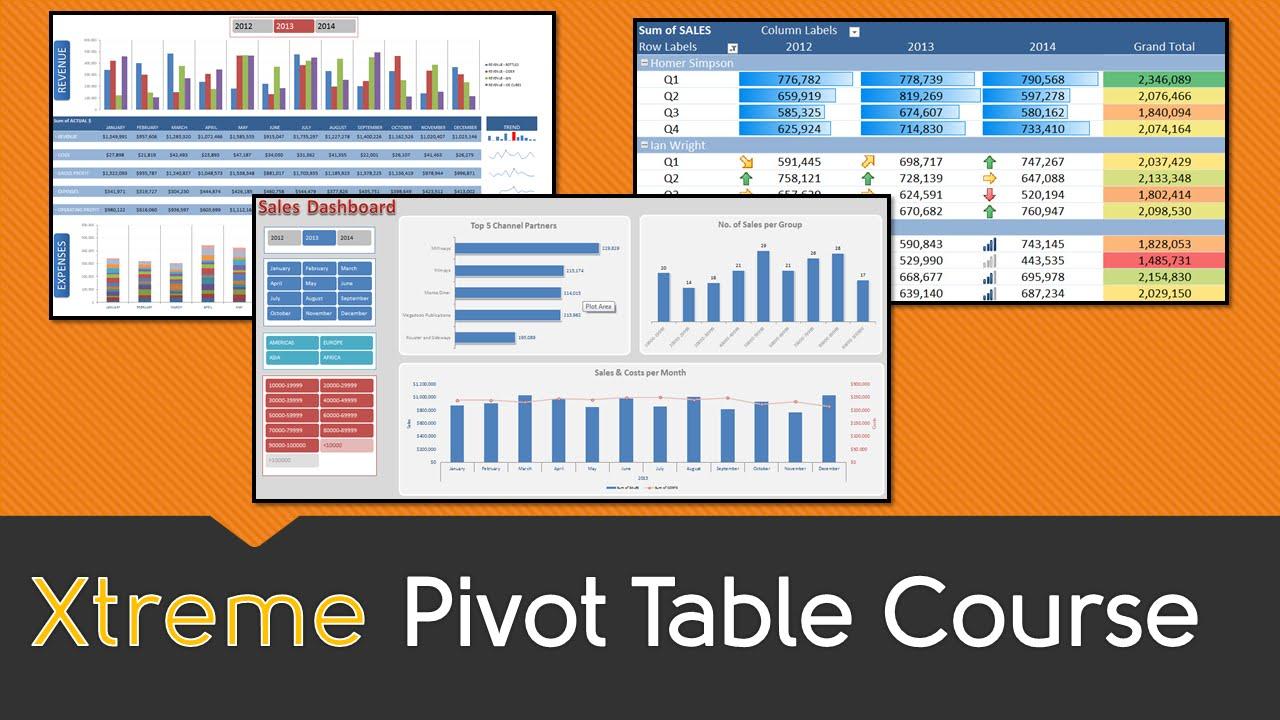 excel pivot table online course excel 2016 2013 2010 2010
