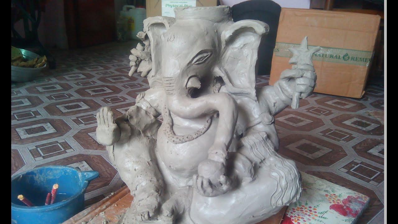 shadu clay ganesha at home | eco friendly clay ganesh easy - youtube