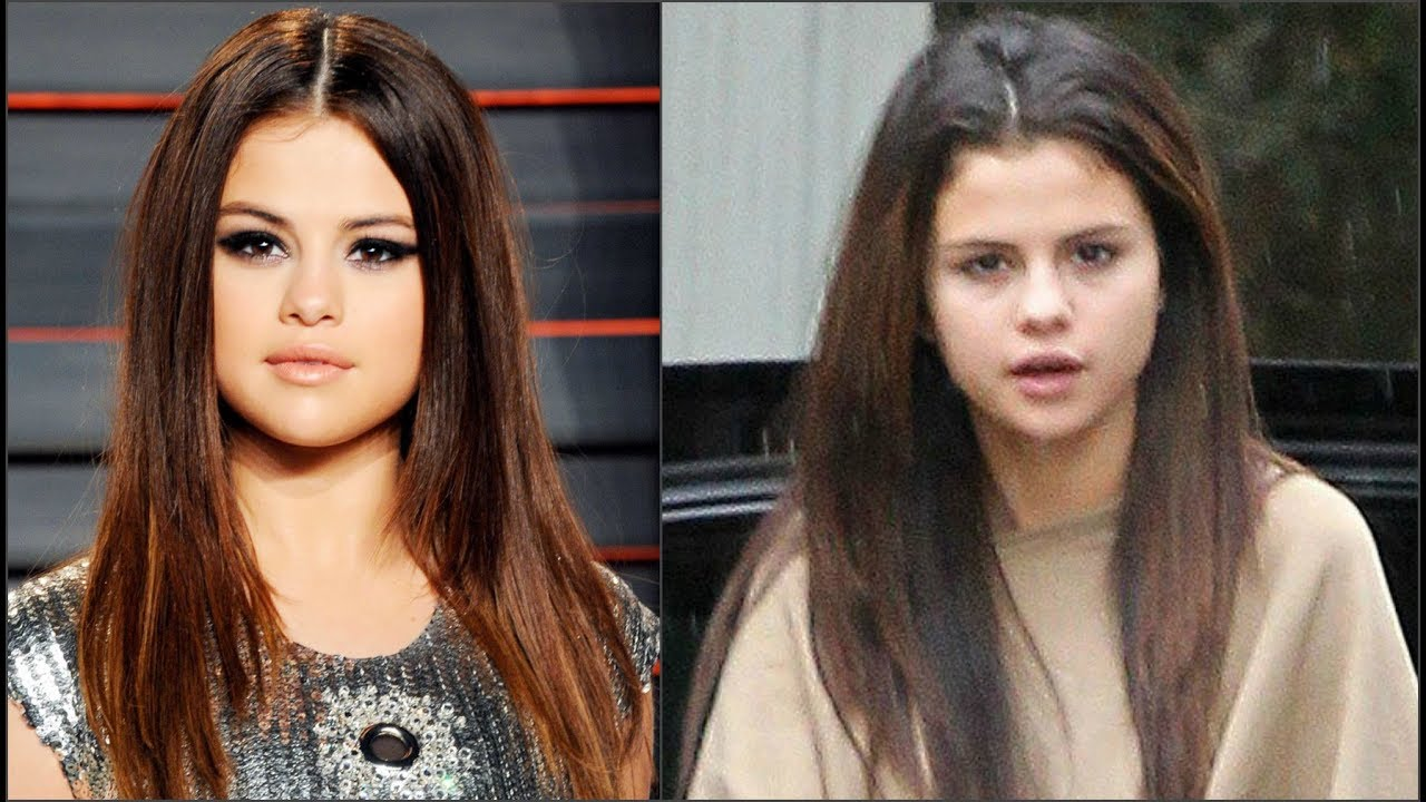 Image result for (Selena Gomez) with and with out make up