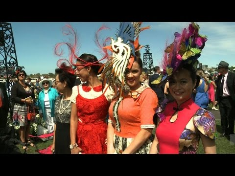 Horse racing fashionistas dress up for the Melbourne Cup