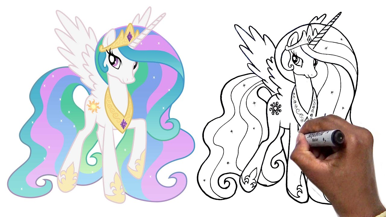 how to draw mlp princess celestia step by step youtube