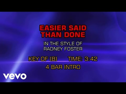 Radney Foster - Easier Said Than Done (Karaoke)
