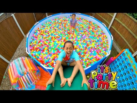 Giant Ball Pit Pool Party - Outdoor Playground Fun - Giant Water Slide | Toys AndMe