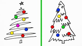 christmas card drawing simple drawings tree techniques perfect minute crafts craft clipartmag paintingvalley