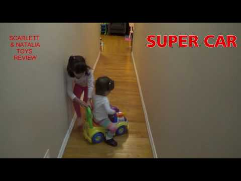 BABY SISTER plays with sister SUPER CAR fun Fisher Price Little People Surprise Toy Review