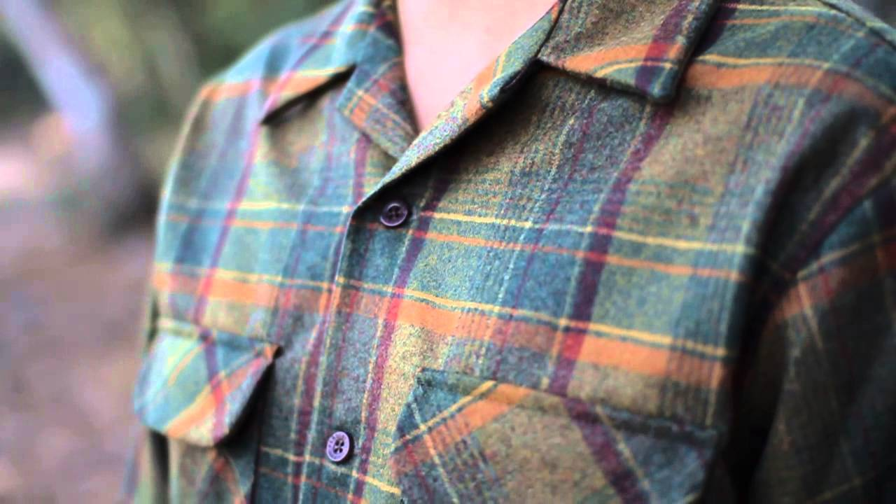Pendleton Green Wool Mens Flannel Board Shirt Details