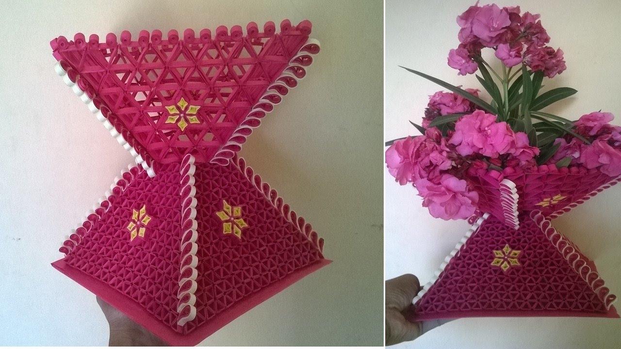 Paper Quilling Flower Vase - YouTube for Paper Quilling 3d Flower Vase  110ylc