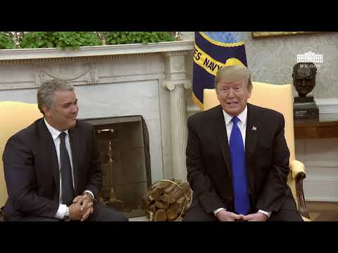 President Trump Meets with the President of the Republic of Colombia and Mrs. Ruiz Sandoval