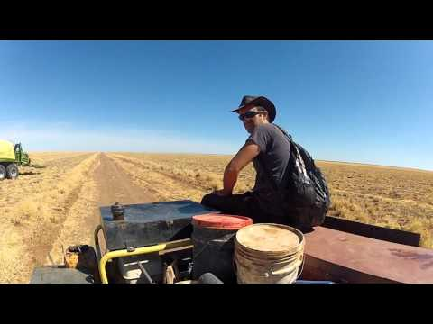 Harvesting hay in the Australian Outback.