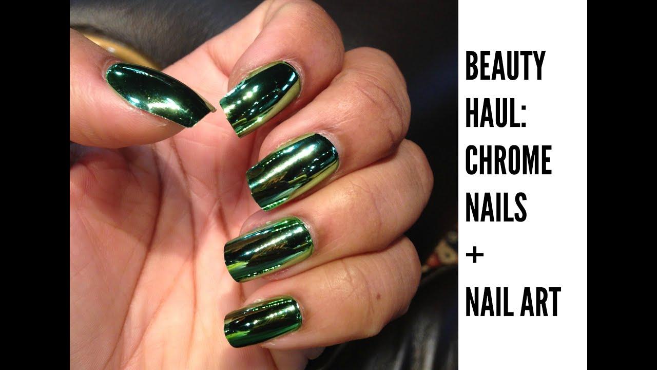 Beauty Haul: Chrome Nails + Nail Art - YouTube