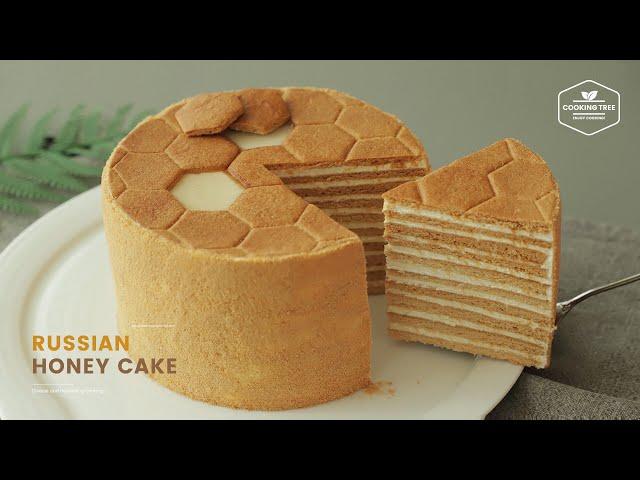 러시아 꿀 케이크🍯 메도빅 만들기 : Russian Honey Cake Medovik Recipe   Cooking tree