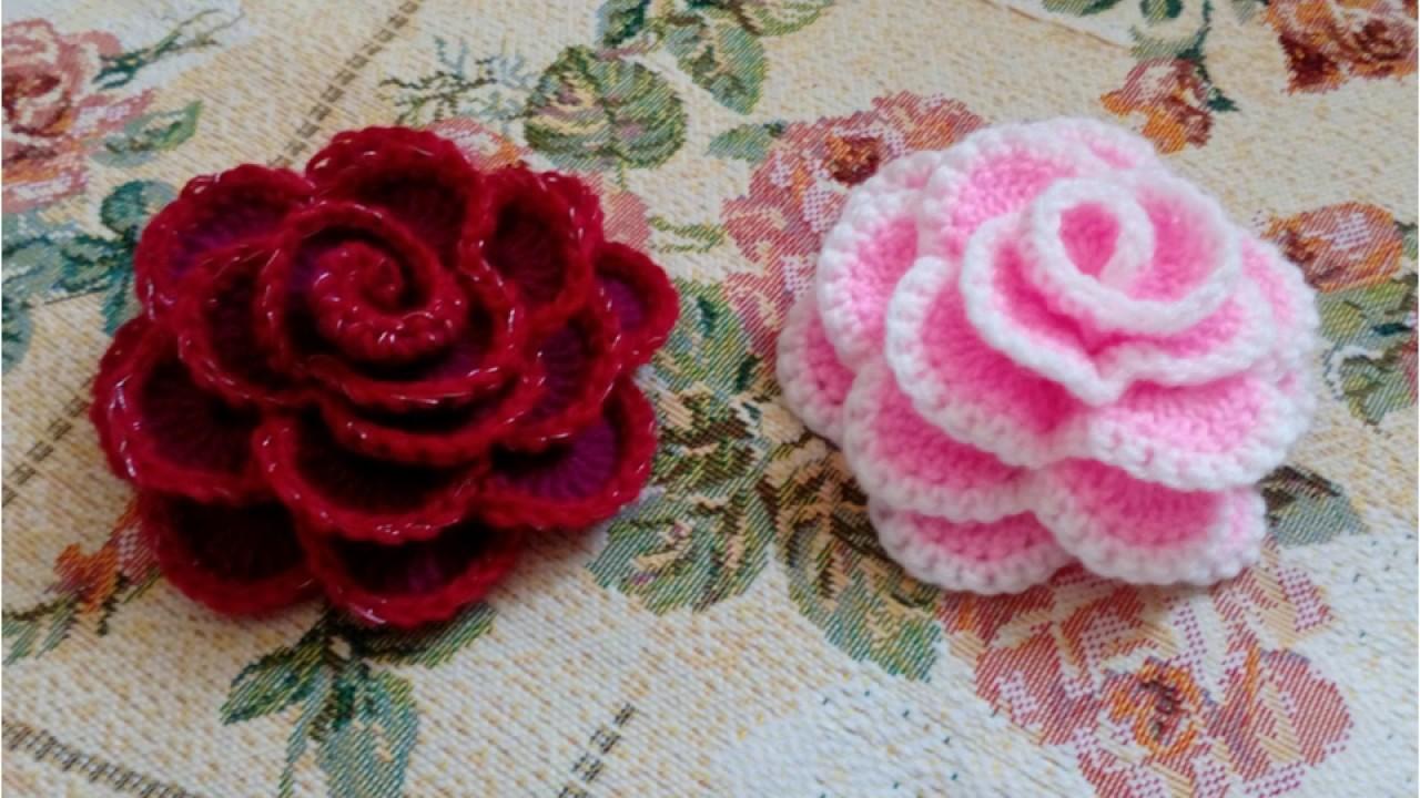 Вязание крючком розы со схемами фото 990