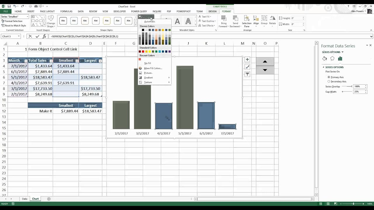 How To Make A Multi Color Bar Chart In Microsoft Excel Youtube